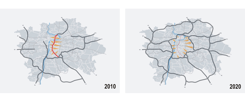 Humanisation of north-south arterial road inPrague