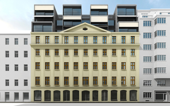 Renovation and extension of apartment bulding in Prague
